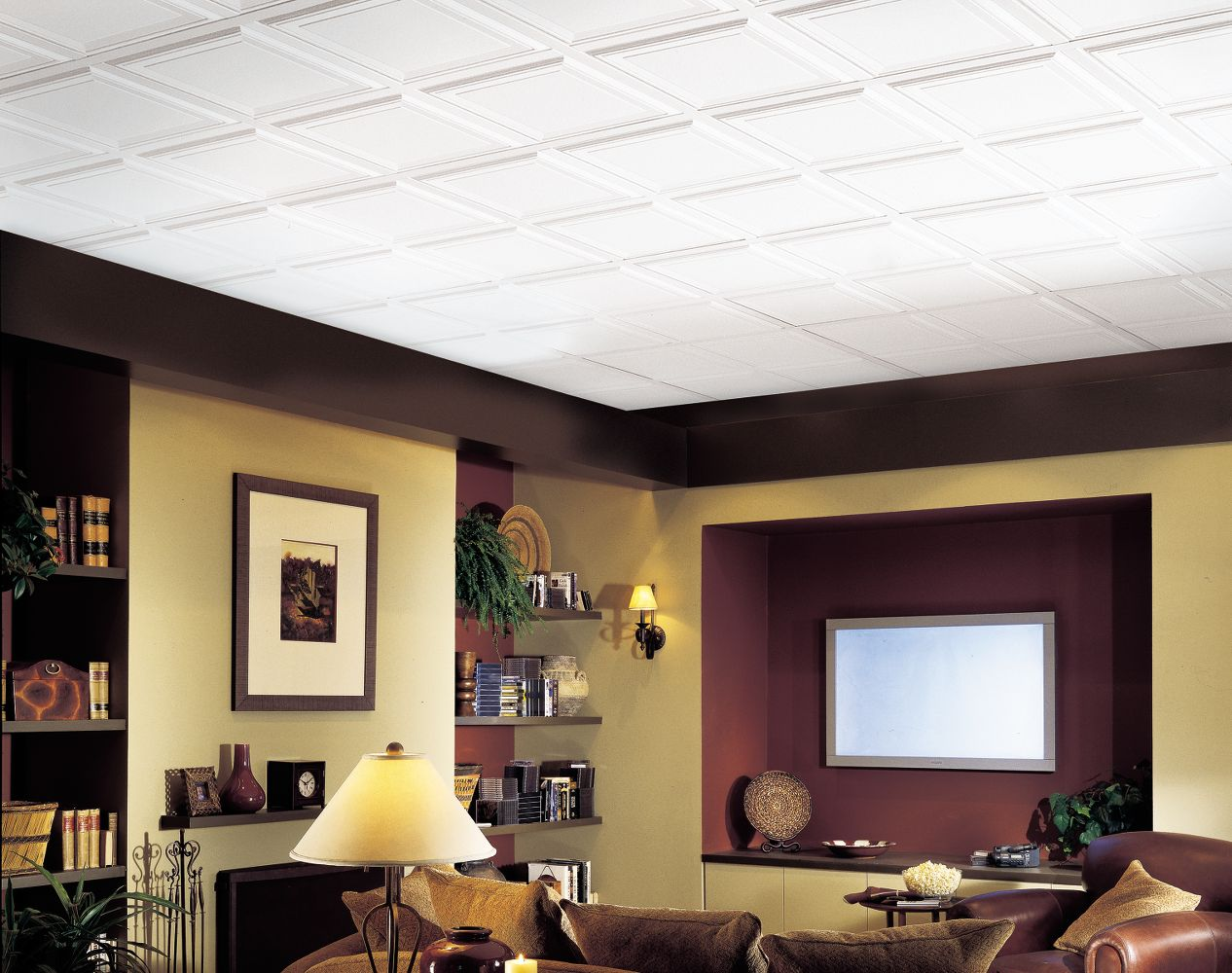 Raised panel homestyle ceilings coffered paintable 2 39 x 2 for Drop ceiling images