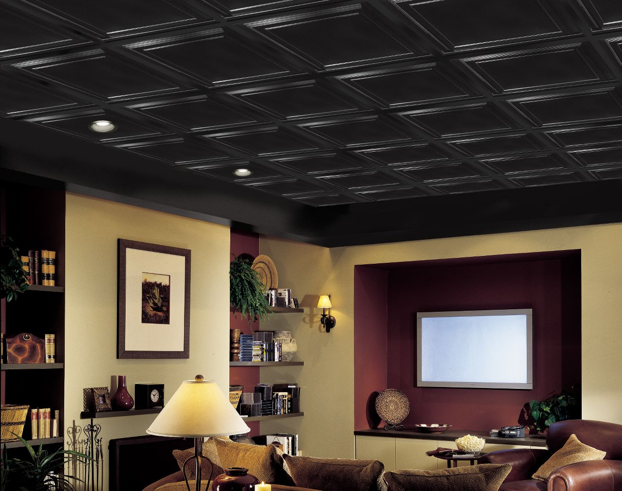 Armstrong tegular ceiling tile home design ideas - Shallow Coffer Black Coffered Black 2 X 2 Panel