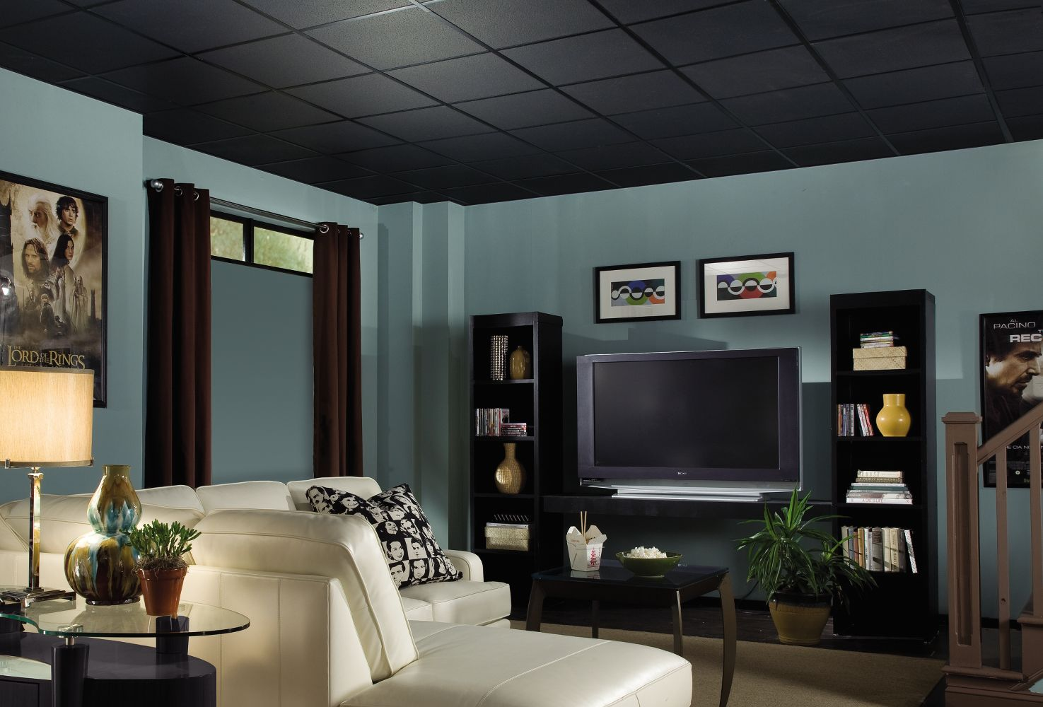 Fine Fissured Homestyle Ceilings Textured Black 2 X 2