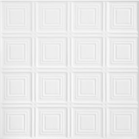 TinCraft Squares Tin/Metal White 2' x 2' Panel #8009