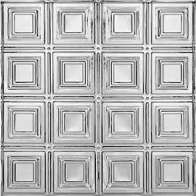 "Metallaire Small Panels Backsplash Tin/Metal Metallic 18.5"" x 48.5"" Panel #5400204BNA"