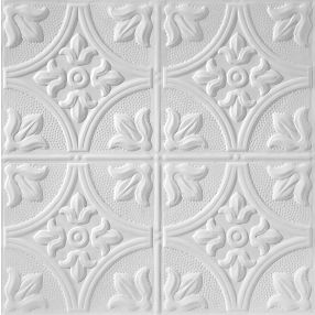Metallaire Large Floral Circle Estaño/Metal White 2' x 2' Panele #5422309LWH