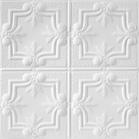 Metallaire Hammered Trefoil Estaño/Metal White 2' x 2' Panele #5422321LWH