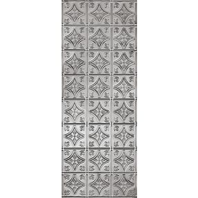 "Metallaire Small Floral Circle Backsplash Estaño/Metal Metallic 18.5"" x 48.5"" Panele #5400209BNA"