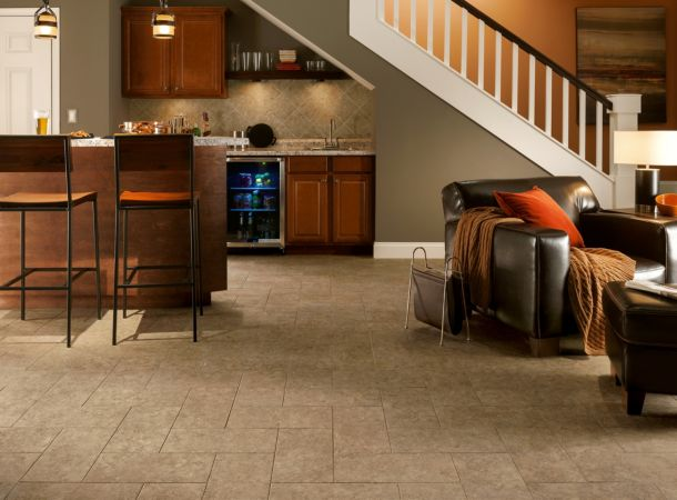 Stunning basement flooring in caramel - D7123